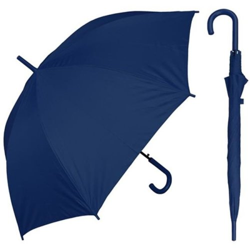 RainStoppers W032NAVY 48 in. Auto Open Navy Umbrella with Matching Hook Handle, 6 Piece