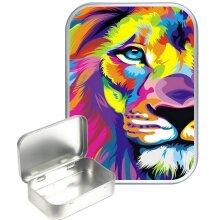 Rainbow Lion 30ml Silver Hinged Tobacco Tin, Gift Tin