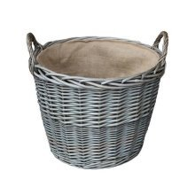 Small Antique Wash Finish Wicker Lined Log Baskets