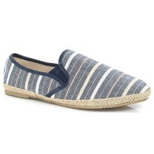 Brave Soul Mens Nautical Striped Canvas Espadrilles, Slip On Style, Blue, Size 8