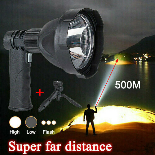 LED Hand held Spotlight USB Rechargeable Camping Hunting Flashlight Torch Lamp
