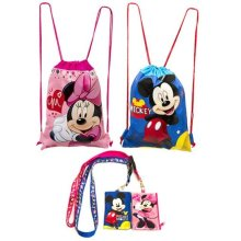 (4ct) Mickey Minnie Mouse Drawstring Backpack and Id Holder Lanyards