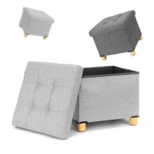 Fabric Foot Rest Stool Storage Space Box Chair Cube Footstool Pouf Bench 4 Legs