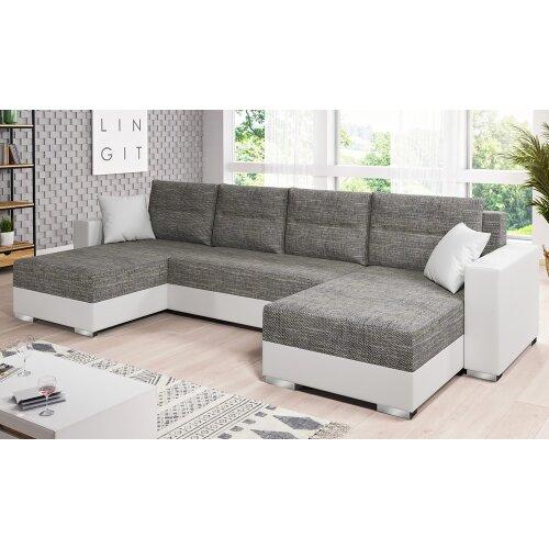 Gambia Corner Sofa Bed Grey / White