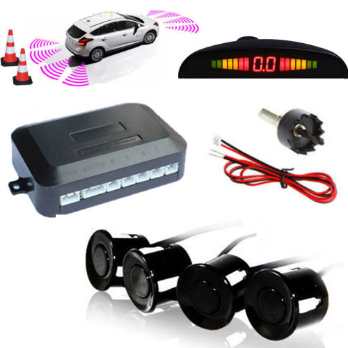 Kabalo Car Vehicle Parking Rear Reverse 4 Sensors Kit Buzzer Radar LED Display Audio Alarm