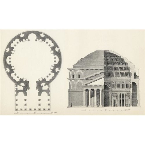 Plan & Elevation of the Pantheon In Rome From the National Encyclopaedia Published by William Mackenzie London Late 19 Poster Print, 36 x 22