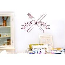 Buon Appetito Knife And Folk Wall Stickers Art Decals - Medium (Height 40cm x Width 57cm) Burgundy