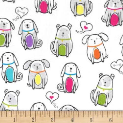 Fat Quarter Paw Prints Colorful Dogs 100% Cotton Fabric