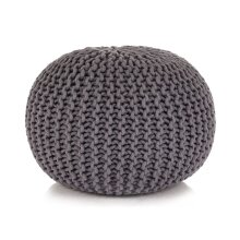 vidaXL Hand-Knitted Pouffe Cotton 50x35cm Grey Foot Stool Rest Ottoman Seat