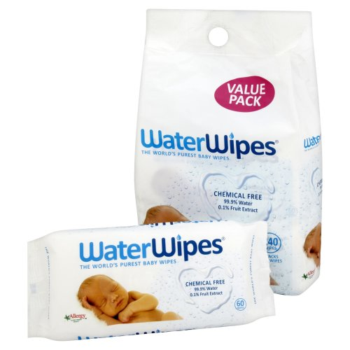 WaterWipes Chemical Free Baby Wipes, Natural & Sensitive, 4 x 60 (240 Wipes)