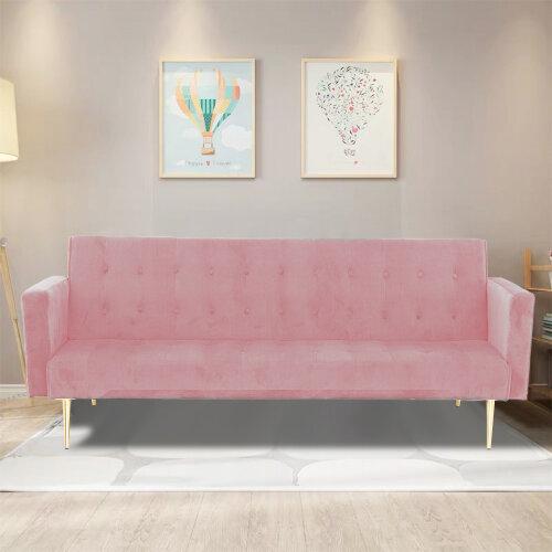 (Pink) Velvet Sofa Bed With Legs Elegant Sofabed