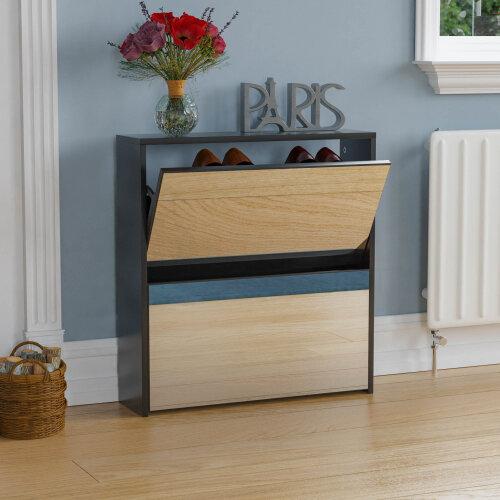 (Black) Welham 2 Drawer Mirrored Shoe Cabinet Rack Storage