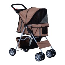 PawHut Brown 4-Wheel Pet Stroller