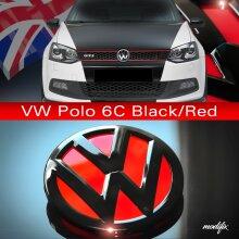 MODIFIX   VW POLO 6C 2014-2016 GLOSS BLACK & RED REAR TAILGATE VW BADGE EMBLEM R GTI TDI GTD