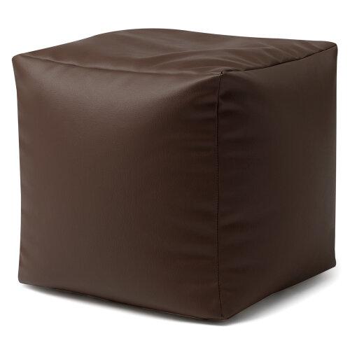 Faux Leather Cube Pouffe Footstool