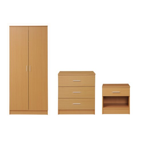 3 Piece Bedroom Furniture Set Wardrobe Chest Drawers Bedside Table Oak Effect