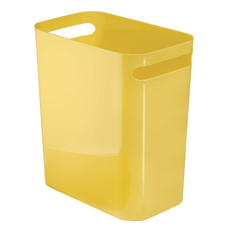 Interdesign Una Rubbish Bin With Handles Plastic Wastepaper Bin For Office Kitchen Or Bedroom Yellow On Onbuy