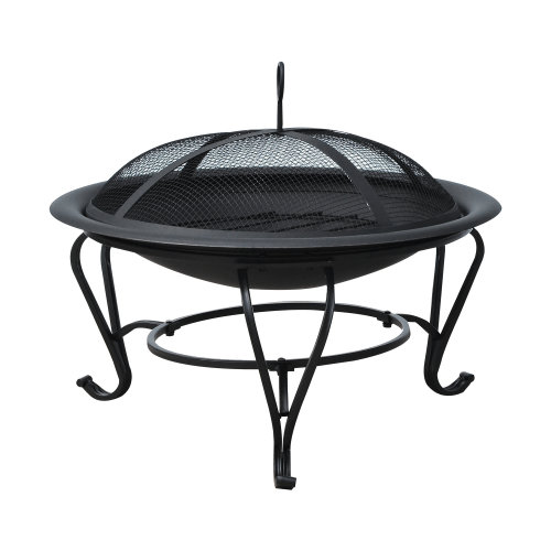 Outsunny 56 cm Diameter Round Outdoor Metal Fire Pit Wood Burning Heater Mesh
