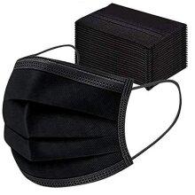 Merrimen Disposable Mask, 50 Count 3 Ply Disposable Earloop Face Masks Earloop Woven Masks Nose- BLACK