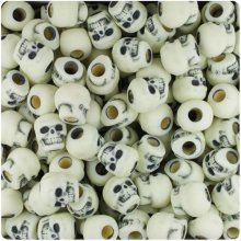 50  Ivory Skull Beads Pony Halloween Day Of The Dead Goth Gothic Voodoo Pirate Skulls