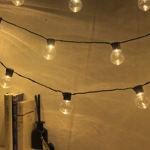 (Transparent Warm White) Outdoor Solar-Powered 20-Bulb Retro String Lights