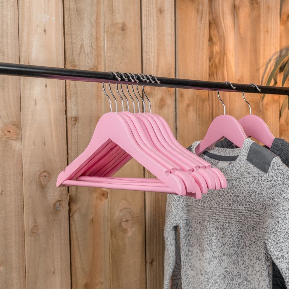 10 Childrens Wooden Coat Hangers Kids Clothes Trouser Hanger Bar Baby Pink