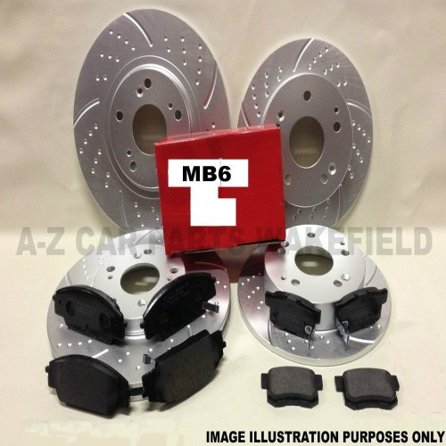 For Honda civic 1.8 VTI MB6 front and rear grooved brake discs pads 4 Stud