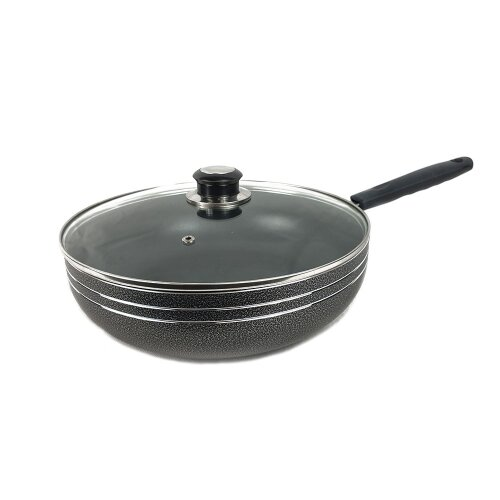 (Dark Grey) Non-Stick Die-Cast Wok with Long Handle & Lid-28cm