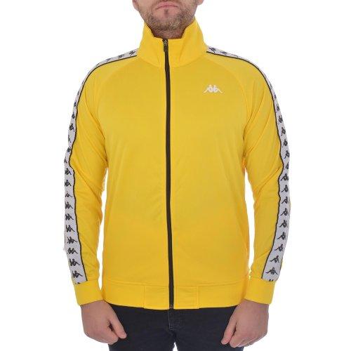 (M, Yellow/Black) Kappa Mens 222 Banda Anniston Regular Fit Retro High Neck Zip Up Track Jacket