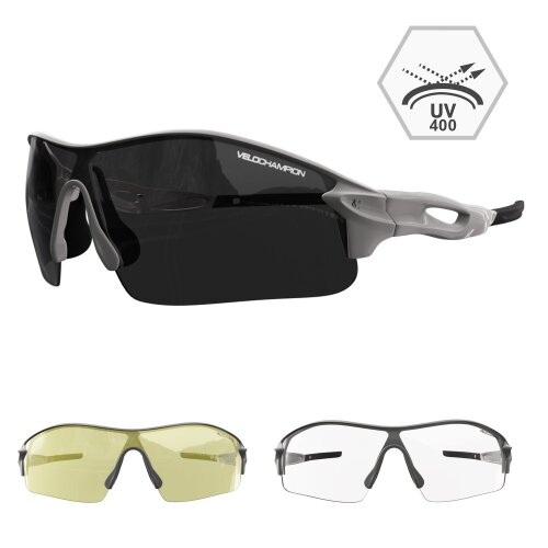 (Silver) Velochampion Warp Cycling Sunglasses - 7 Frame Colours Available