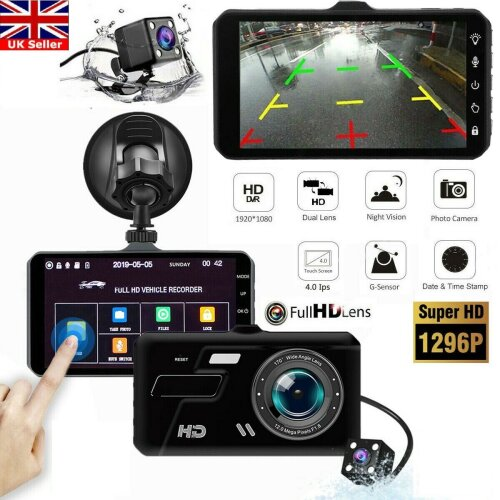 1080P Car Dash Camera Recorder Dual Lens DVR Front + Rear Reverse Cam