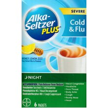 Alka Seltzer Plus Severe Cold & Flu Fast Relief Mix-In Packet, 6 Ct - Honey Lemon Zest, Night