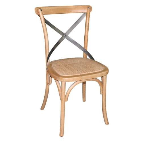 Bolero Natural Bentwood Chairs with Metal Cross Backrest (Pack of 2) - [GG656]