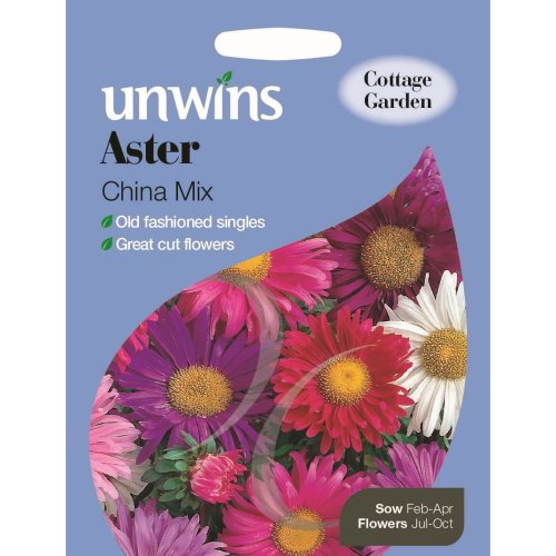 Unwins Pictorial Packet - Aster China Mix - 220 Seeds