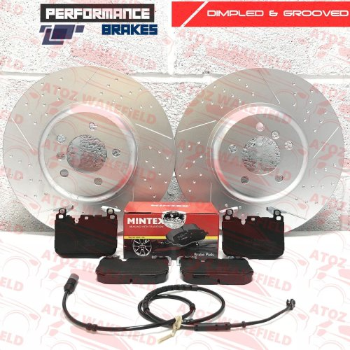FOR BMW 340i FRONT DIMPLED GROOVED PERFORMANCE BRAKE DISCS MINTEX PADS 370mm