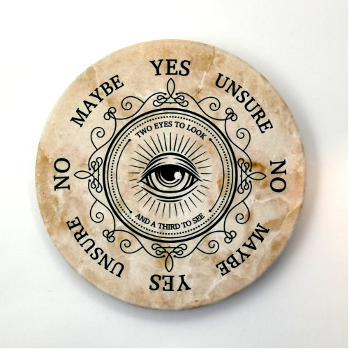 Round Ceramic Pendulum Board with All-Seeing Eye Design, Suitable for Reiki, Dowsing, Divination Readings