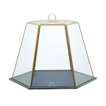 "Artesà Geometric Glass Cheese/Cake Dome with Slate Serving Board, 31 x 27.5 x 25 cm (12"" x 11"" x 10"") - Brass Effect"