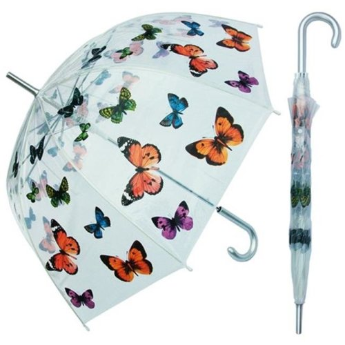 RainStoppers W3467BFLY 46 in. Auto Open Clear Dome Umbrella with Butterfly Print, 6 Piece