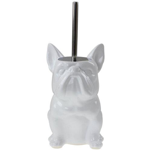 White Ceramic Bulldog Dog Animal Shaped Toilet Brush Bath Cleaning With Holder