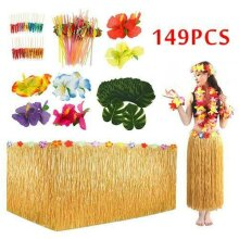 149Pcs Hawaiian Table Skirt Cover Flower/Grass BBQ Party Decors