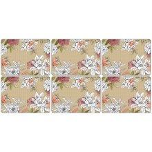 Pimpernel Floral Sketch Placemats, Set of 6