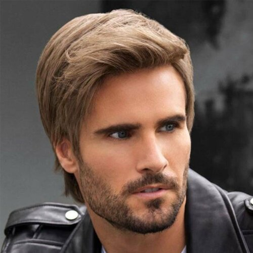 Mens Brown Short Straight Wigs Natural Full Hair Cosplay Party Wig Daily Wigs