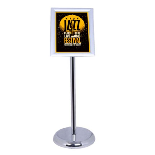 HOMCOM New A4 Floor Stand, Menu Holder Snap Frame and Display (Silver) Snap
