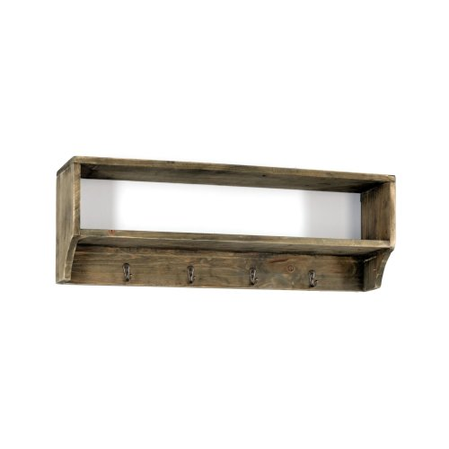 Wooden Wall Shelf with 4 Metal Coat Hooks Shabby Wall Mounted Storage