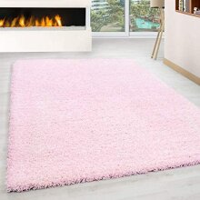 Abaseen Soft Non Shed Plain Easy Clean Shaggy Rugs-Baby Pink 120x170cm