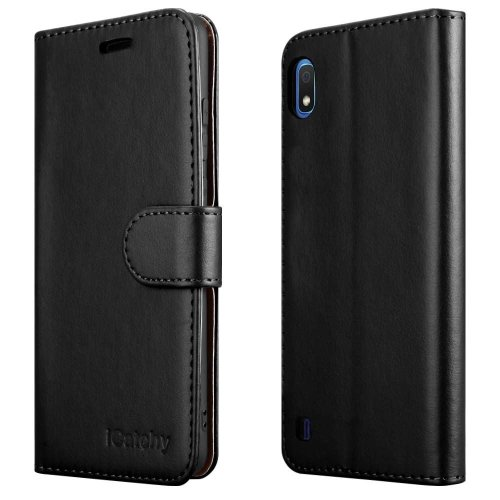 (Black) For Galaxy A10 Leather Wallet Flip Back Case Cover