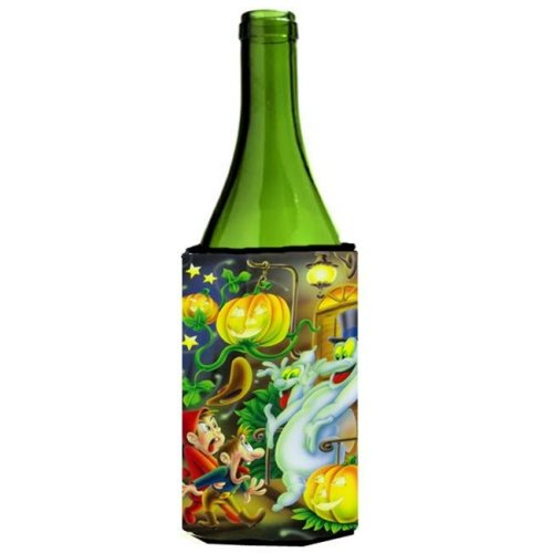 Scary Ghosts & Halloween Trick or Treaters Wine Bottle Can cooler Hugger