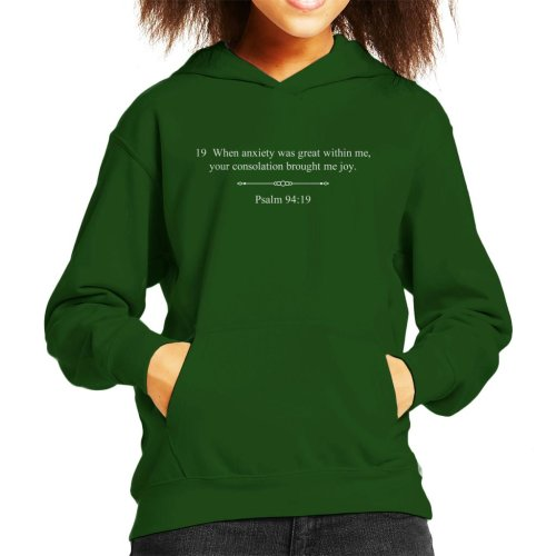 Religious Quotes Your Consolation Psalm 94 19 Kid's Hooded Sweatshirt