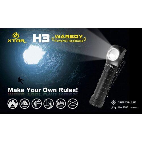 XTAR H3 Cree XM-L2 U3 1000 Lumens LED Headlight Flashlight Torch