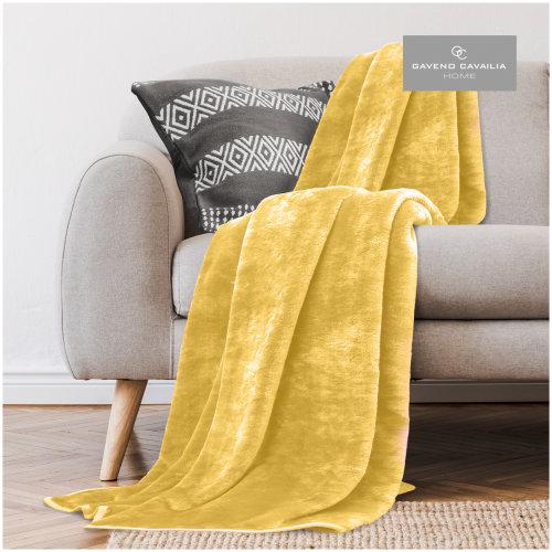 (King ( 200x240 cm ), Yellow) Luxury Quality Light Weight Soft & Cosy Mink Fur Throw